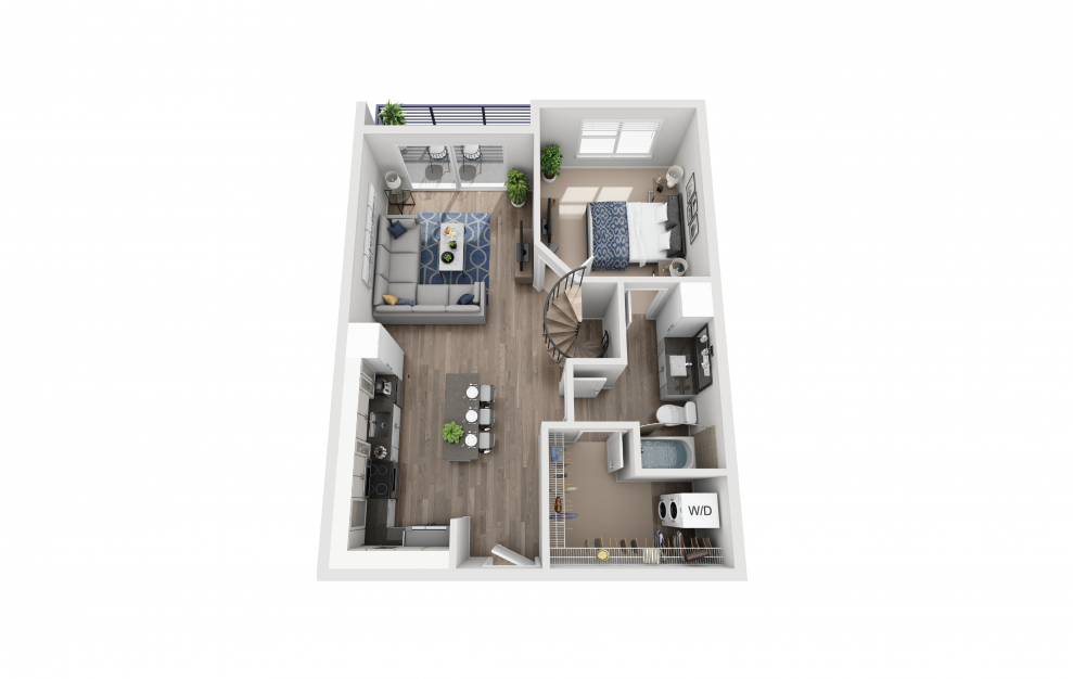 A5L - 1 bedroom floorplan layout with 1 bath and 937 square feet. (Floor 1)