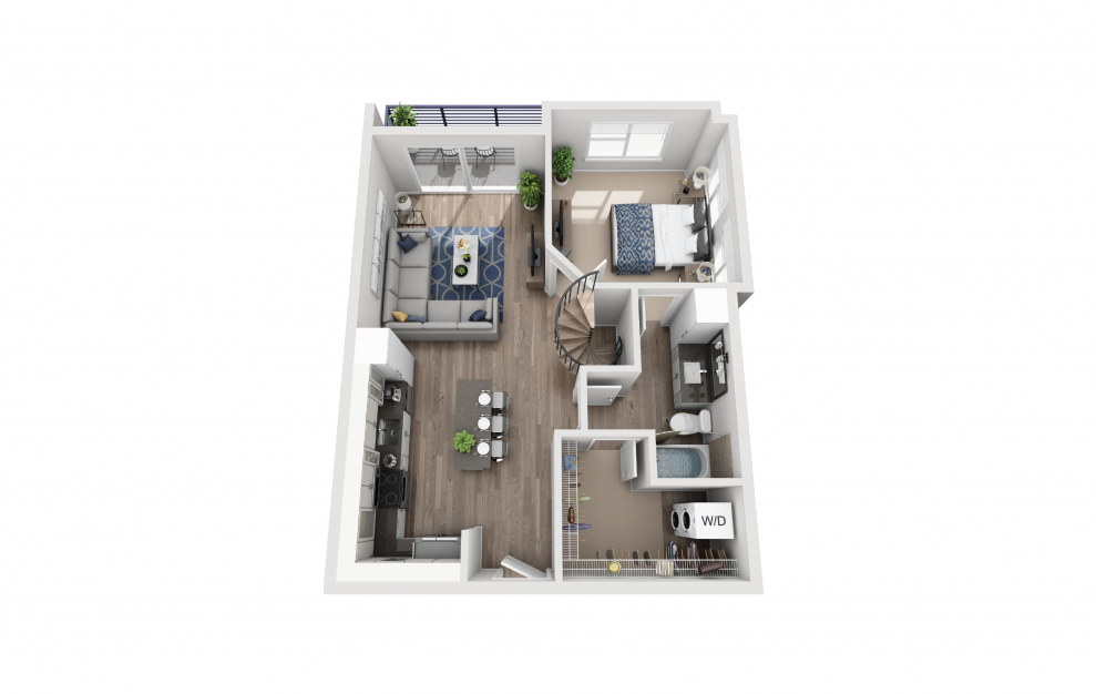 A6L - 1 bedroom floorplan layout with 1 bath and 950 square feet. (Floor 1)