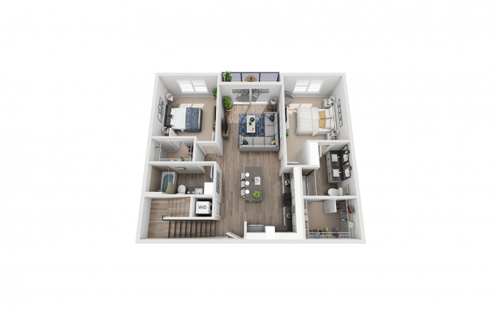 B7L - 2 bedroom floorplan layout with 2 baths and 1380 square feet. (Floor 1)