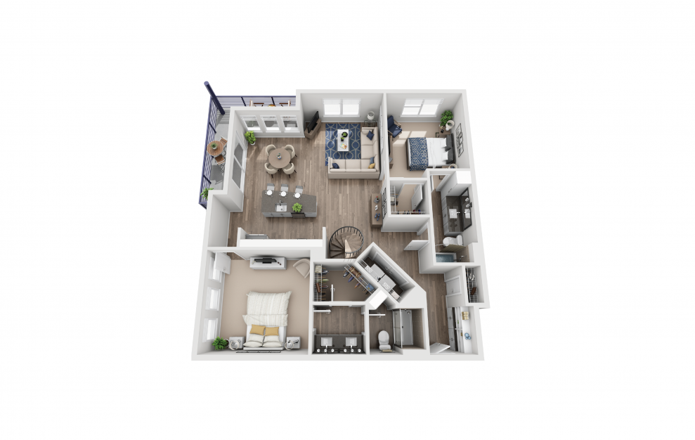 B8L - 2 bedroom floorplan layout with 2 baths and 1464 square feet. (Floor 1)