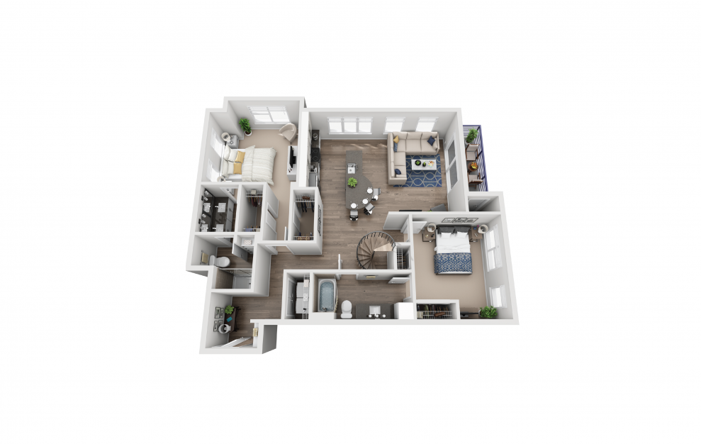 B9L - 2 bedroom floorplan layout with 2 baths and 1474 square feet. (Floor 1)