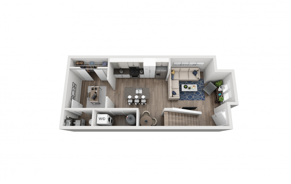 TH1 - 1 bedroom floorplan layout with 1.5 bath and 849 square feet. (Floor 1)