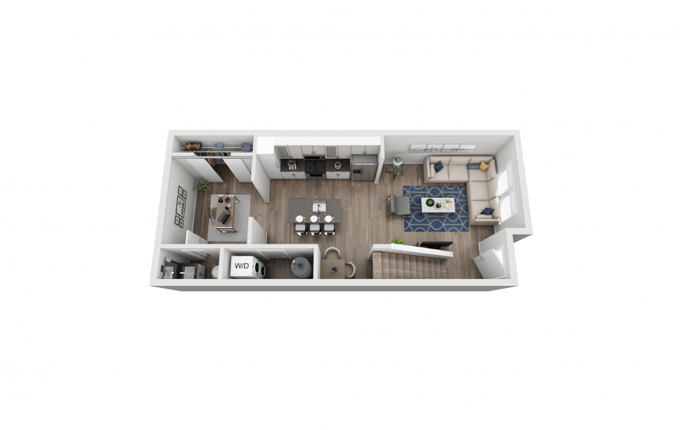 TH2 - 1 bedroom floorplan layout with 1.5 bath and 862 square feet. (Floor 1)