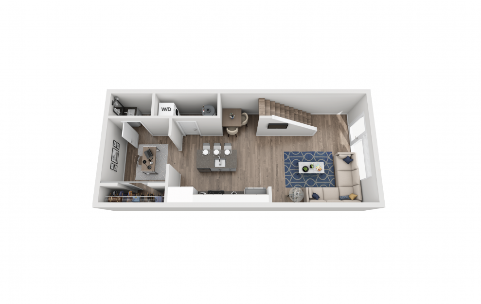 TH3 - 1 bedroom floorplan layout with 1.5 bath and 888 square feet. (Floor 1)