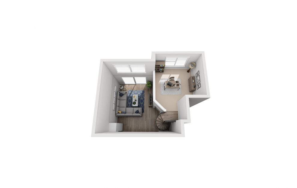A5L - 1 bedroom floorplan layout with 1 bath and 937 square feet. (Floor 2)