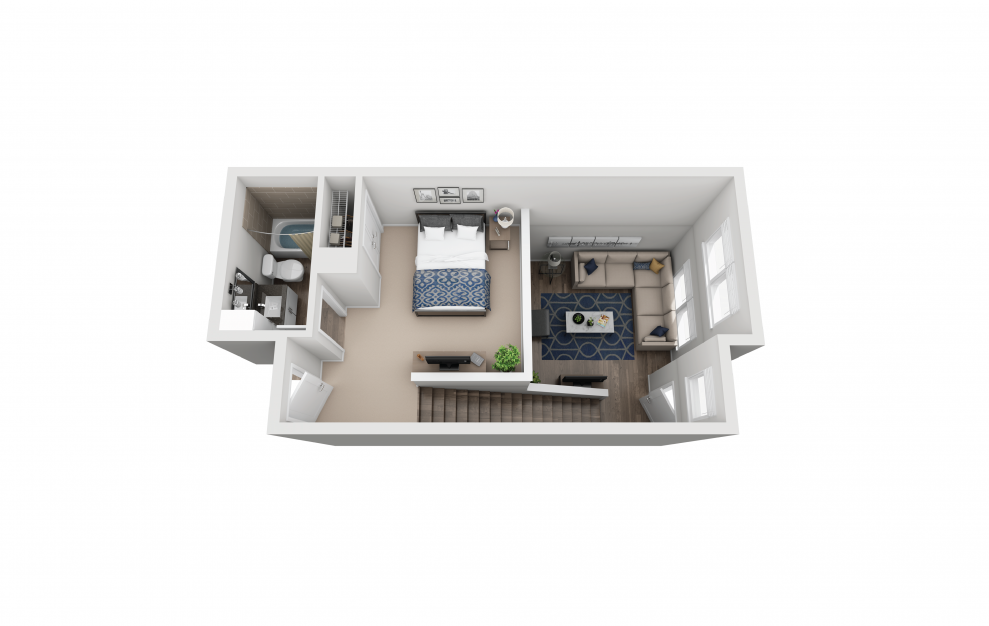 TH2 - 1 bedroom floorplan layout with 1.5 bath and 862 square feet. (Floor 2)