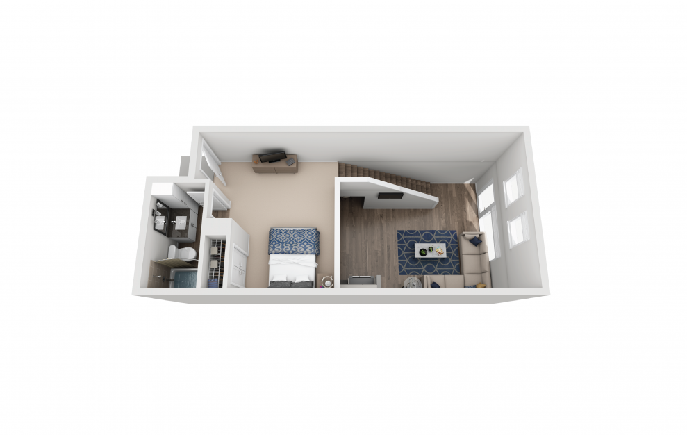TH3 - 1 bedroom floorplan layout with 1.5 bath and 888 square feet. (Floor 2)