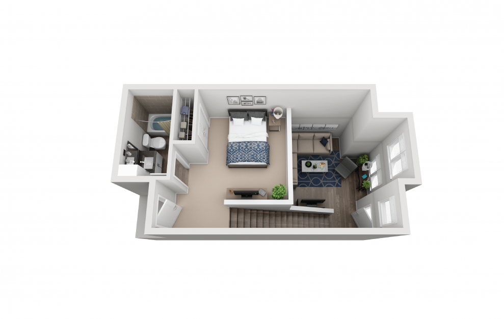 TH1 - 1 bedroom floorplan layout with 1.5 bath and 849 square feet. (Floor 2)
