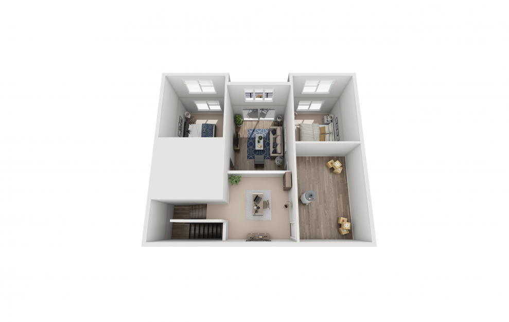 B7L - 2 bedroom floorplan layout with 2 baths and 1380 square feet. (Floor 2)