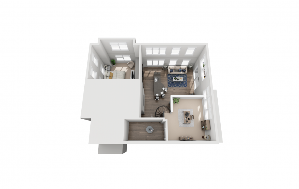 B9L - 2 bedroom floorplan layout with 2 baths and 1474 square feet. (Floor 2)