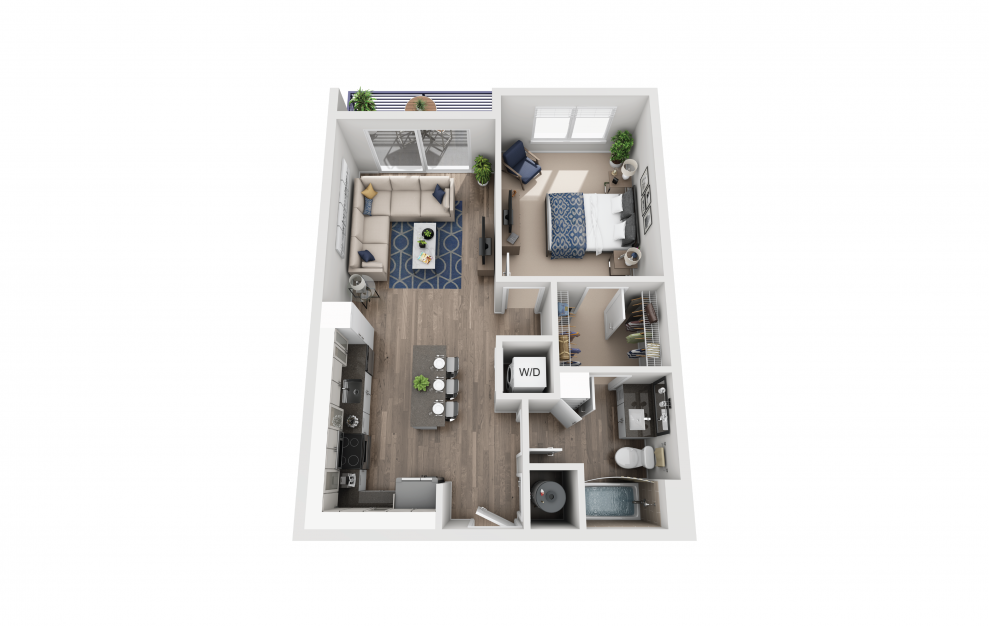 A1 - 1 bedroom floorplan layout with 1 bath and 738 square feet.