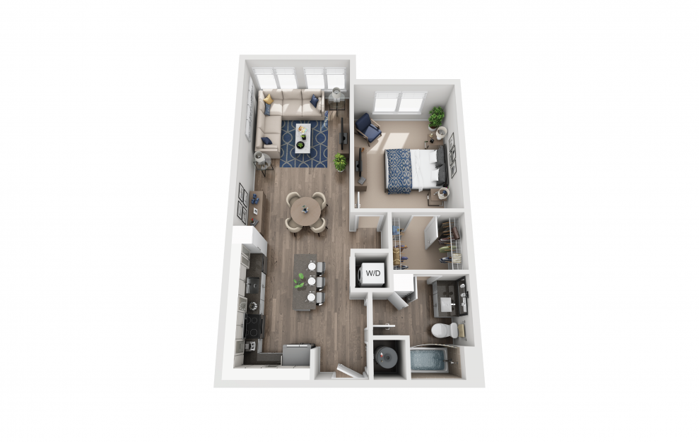 A3 - 1 bedroom floorplan layout with 1 bath and 803 square feet.