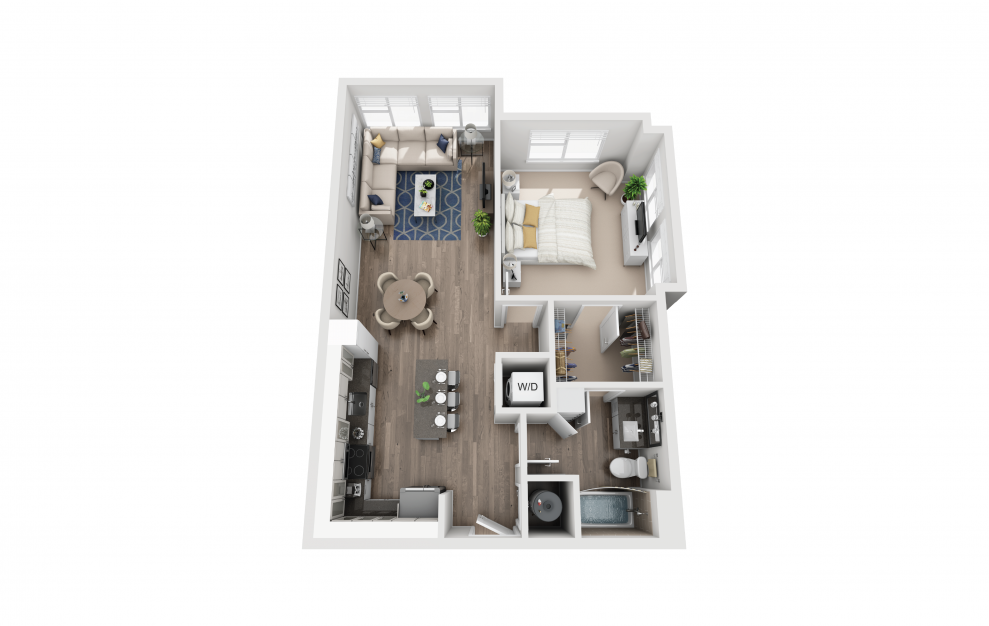 A4 - 1 bedroom floorplan layout with 1 bath and 822 square feet.
