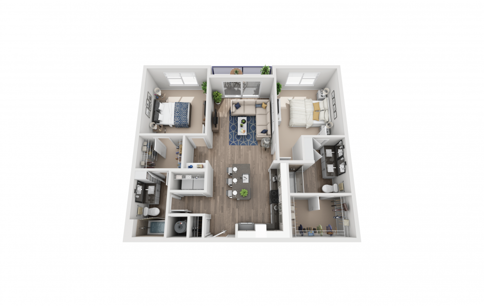 B1 - 2 bedroom floorplan layout with 2 baths and 1142 square feet.