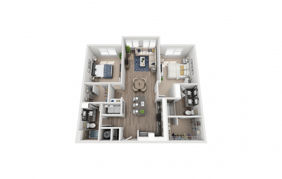 B2 - 2 bedroom floorplan layout with 2 baths and 1207 square feet.