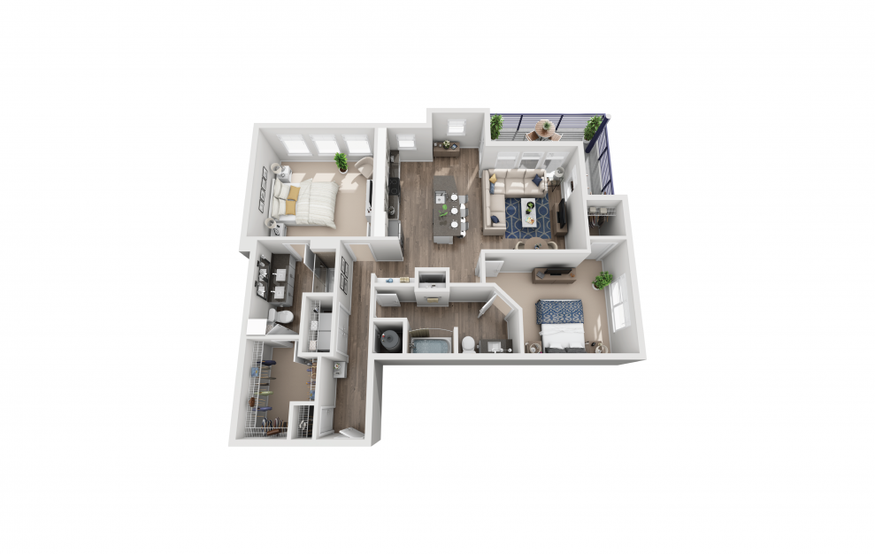 B4 - 2 bedroom floorplan layout with 2 baths and 1232 square feet.
