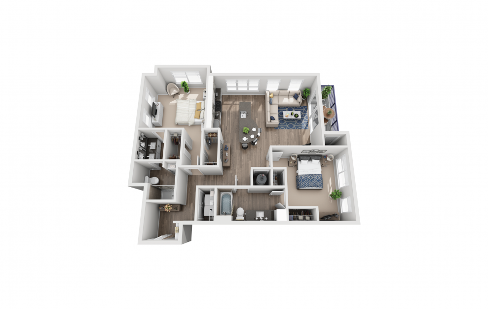 B5 - 2 bedroom floorplan layout with 2 baths and 1235 square feet.