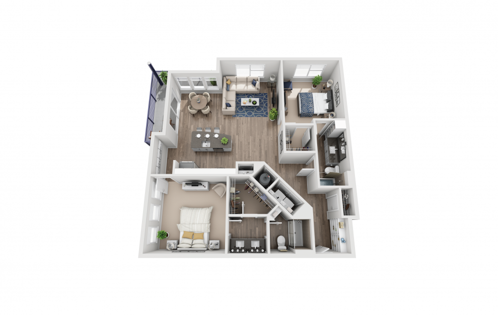 B6 - 2 bedroom floorplan layout with 2 baths and 1317 square feet.