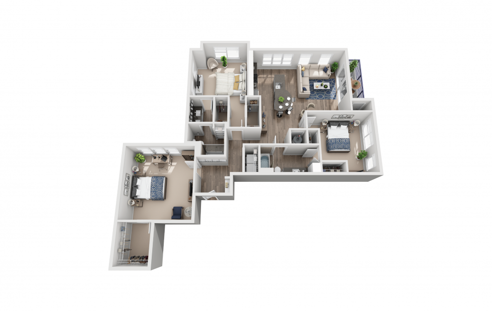C1 - 3 bedroom floorplan layout with 2 baths and 1556 square feet.