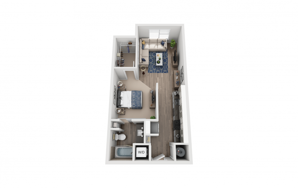 S1 - Studio floorplan layout with 1 bath and 588 square feet.