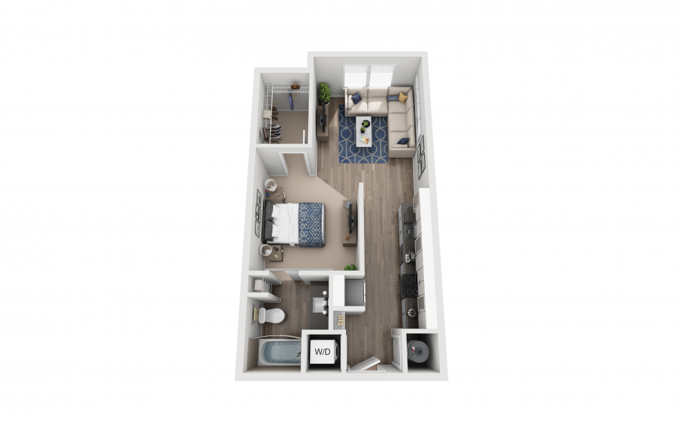 S2 - Studio floorplan layout with 1 bath and 597 square feet.