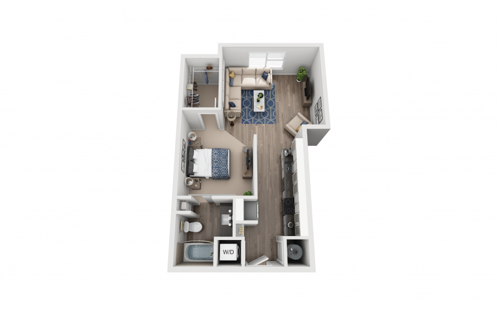 S3 - Studio floorplan layout with 1 bath and 643 square feet.
