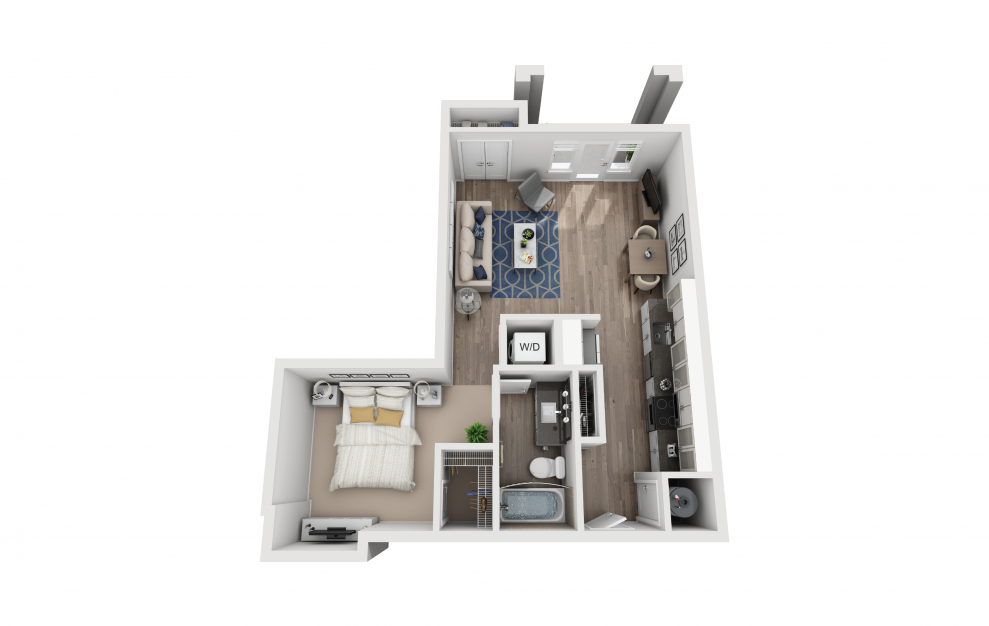 S4 - Studio floorplan layout with 1 bath and 681 square feet.