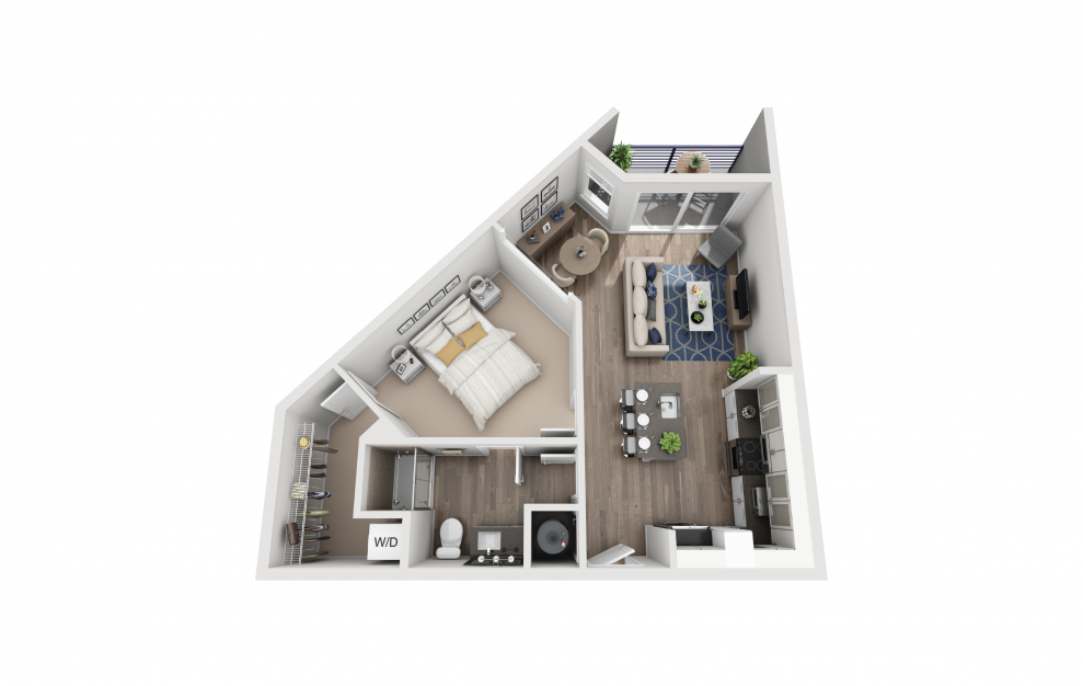 S5 - Studio floorplan layout with 1 bath and 717 square feet.