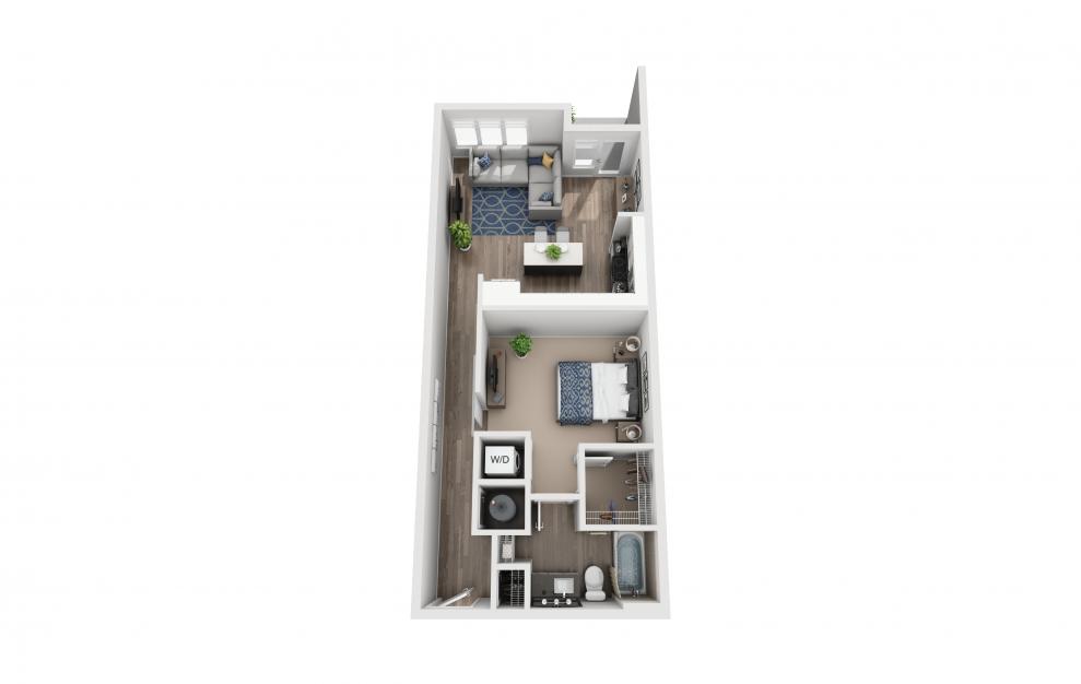 S6 - Studio floorplan layout with 1 bath and 734 square feet.