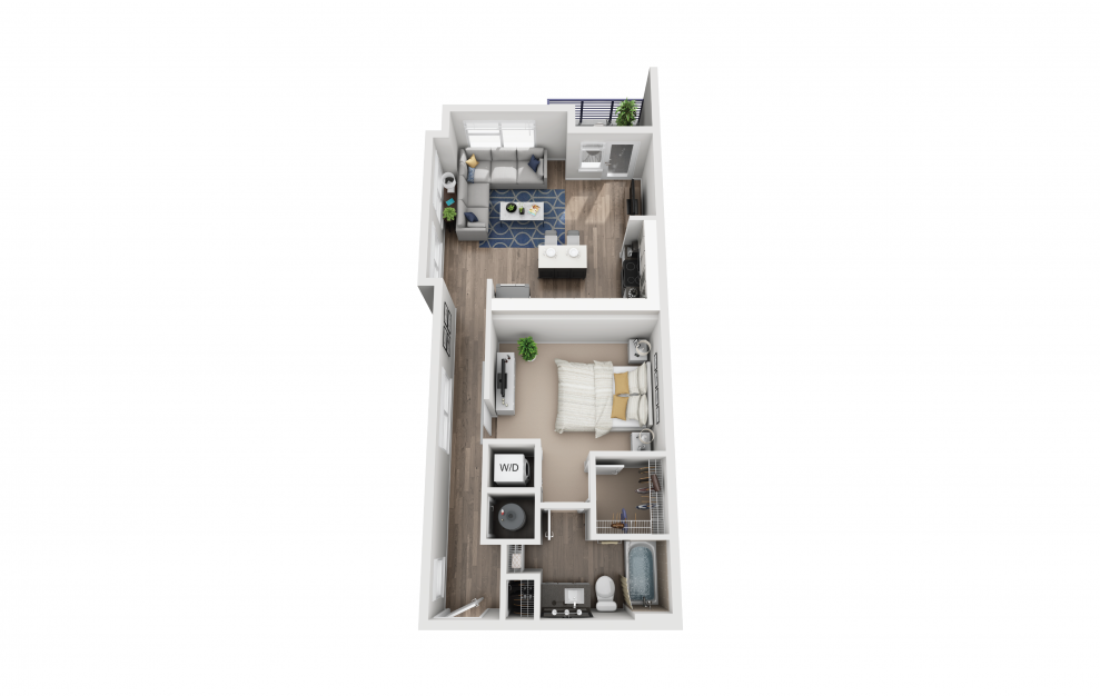 S7 - Studio floorplan layout with 1 bath and 760 square feet.
