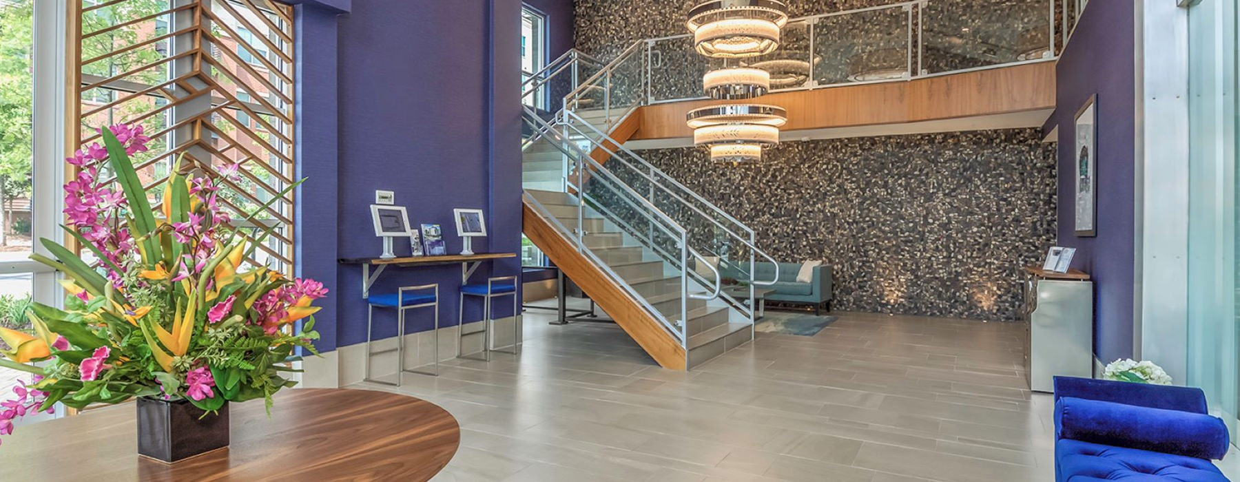 Beautiful welcoming two-story lobby
